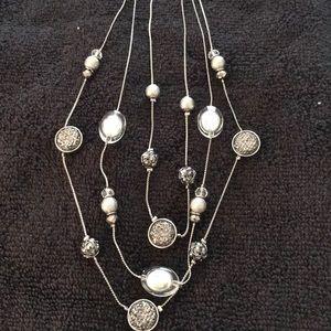 Three Strand, Multi Stone, Silver Tone, Necklace